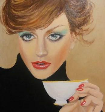 дама пьет кофе