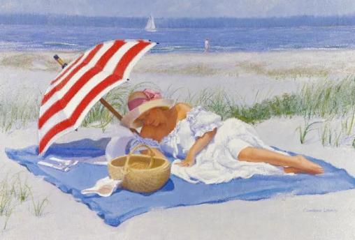 дама на берегу